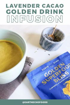 If you love a good drink infusion (and we know you do), you're going to love this Lavender Cacao Golden Drink recipe. Created by Brandy, Earth Echo's own Director of Content and Creative, this unique warm beverage is the perfect thing to sip before heading off to dreamland. Golden Drink Recipe, Dannette May Recipes, Fun Drinks, Beverages, Make A Mug, Danette May, Brandy Love, Organic Supplements, Help Losing Weight