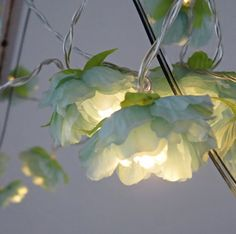 Blossom Fairy Lights, Seafoam Flower Light Garland, Battery Fairy Lights  Pretty blossom flower fairy lights in a soft seafoam green and warm white