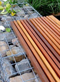 Timber slat gabion seat idea http://www.gabion1.com