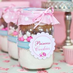 Printable shabby chic princess cookie birthday party favorsfor a girl. For a vintage shabby chic feelthese printables cookie jar labels are adelightful mix of florals and polka dots creating a playful pretty look for your event. With a mix of pinks, blueand greens this set creates a lovely shabby chic look. FILE INCLUDES 3'' Princess Cookie Labels 3'' Princess Cookie Recipe Method Please note Princess Cookie labels are not editable.