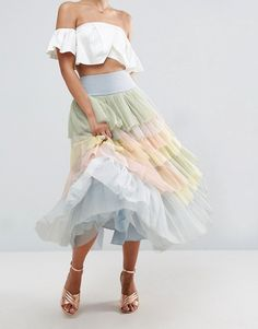 Tulle prom skirt in rainbow