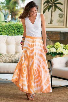 Sunset Skirt I - Tie Dyed Skirt, Long Cotton Skirt, Tropical Skirt   Soft Surroundings