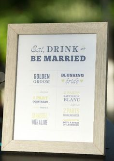 A sign at the bar let guests know about the signature drinks being offered.