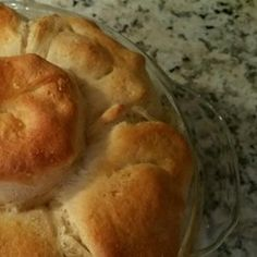 Mom's Fabulous Chicken Pot Pie with Biscuit Crust.  Use mini biscuits and add garlic.