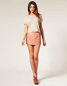 ASOS Leather Pelmet Mini Skirt - StyleSays