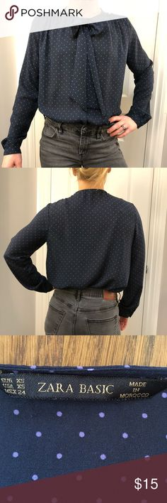 Zara Pussy Bow Navy Polka Dot Blouse Sweet blouse with polka dots, front tie pussy bow. Dress up for work or down with jeans. Size XS from the Zara Basics collection Zara Tops Blouses