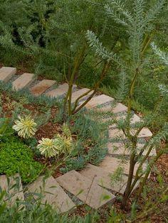Trittsteine Gartenweg-am Hang-errichten Treppe-Im Garten-geschwungen