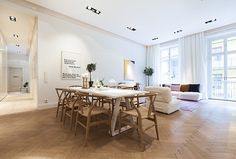 Parquet flooring plus general lightness of the room