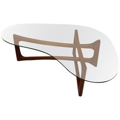 Adrian Pearsall; Walnut and Glass Coffee Table, 1960s.