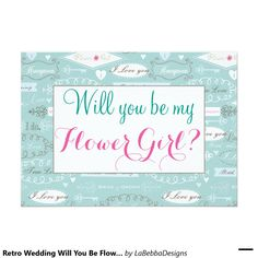 Retro Wedding Will You Be Flower Girl 5x7 Paper Invitation Card
