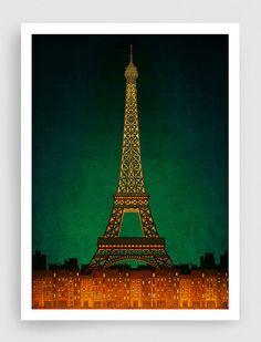Paris illustration - PARIS by night - Fine art illustration,Fine art prints,Art Posters,Paris art,Paris decor,Wall art,Green,Orange