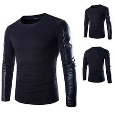 Men Black Autumn Long Sleeved T Shirt With Faux Leather Sleeves $22.90