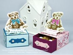 Handmade gift box featuring Baby Bears made by Sandra Ronald, Independent Stampin' Up Demonstrator.  All details on my website.