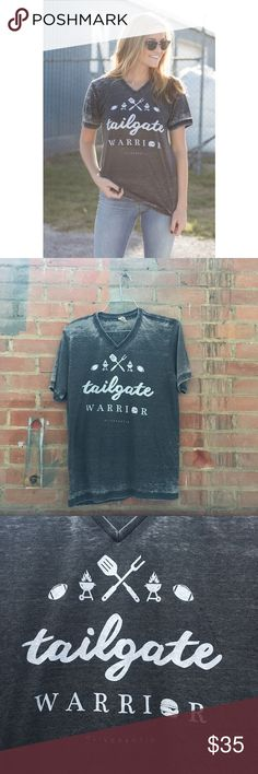 🎉FLASH SALE🎉 Tailgate Warrior 🏈 Acid wash v-neck tee. Super soft. Unisex fit. I only have charcoal in stock, but I can order any of the other colors pictured, just ask 😊 Tops Tees - Short Sleeve