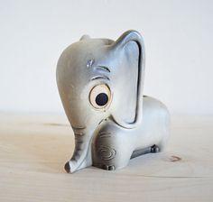 Adorable vintage plaster elephant planter figurine by mothrasue, $18.00.