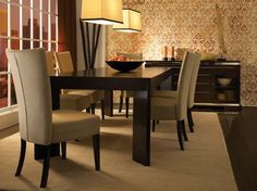 High Style Set With Parsons Chairs By Canadel Furniture Upholstery Dining Solid