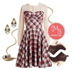 """""""Traveling Cake Pop Truck Dress in Paprika Plaid"""" by modcloth ❤ liked on Polyvore"""