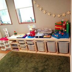 Toy storage / Living with children / Kids& space in the living room / Interior room interior Ikea Playroom, Ikea Kids, Playroom Ideas, Bohemian Wall Decor, Home Wall Decor, Sewing Room Organization, Toy Storage, Kid Spaces, Living Room Interior