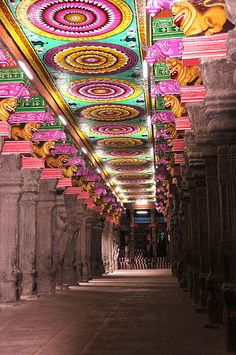 love the colorful circles theworldwelivein: prehistoric pop art in Madurai temple (by marinfinito)