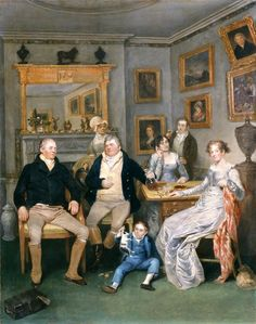 Group portrait of a family in a domestic interior, by an unknown artist, c.1815-1820