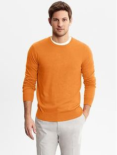 Orange - my new favorite color. Solid crew-neck sweater | Banana Republic