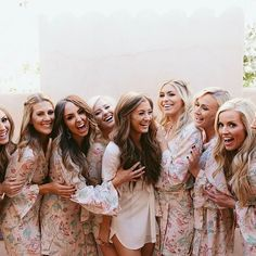 Bride and bridesbabes for days. Stunner @thomjennifer selected our Alodie print ✨ Rooting for each other, living dreams and full on wedding fun. Shop at www.PlumPrettySugar.com