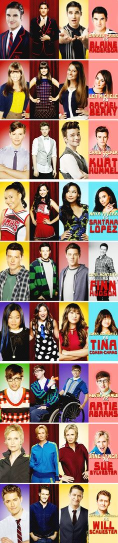 Glee characters from season 2 until season 5. I like how Cory's season 5 pic is black & white.