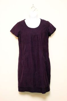 Boden Purple Casual Corduroy Dress Front Neck Pleat Size UK 18L / US 14L #Boden #Shift #Casual