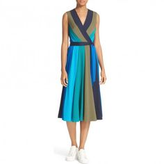 --evaChic--This Diane von Furstenberg Penelope Colorblock Wrap Fit & Flare Dress features a color-block stripe motif elongating your figure and giving a new structure to the classic wrap silhouette. Midi length allows it to double as statement eveningwear or easy-to-wear sun dress. Actress Blake Lively even layered over another DVF dress.        http://www.evachic.com/product/diane-von-furstenberg-penelope-colorblock-wrap-fit-flare-dress/