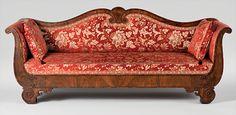 D. Phyfe & Son (1840–1847), sofa, 1841. Rosewood veneer, rosewood, rosewood-grained mahogany; secondary woods: ash, white pine. H. ...