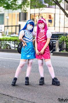 Kawaii & Colorful Japanese Twin Sisters in Harajuku w/ Peco Club, 6%DOKIDOKI, G2? Record Bags & Yosuke Platforms Fashion Brand, Fashion News, Dark Look, Harajuku Girls, Full Look, Creepy Cute, Tokyo Fashion, Mori Girl, Japanese Fashion