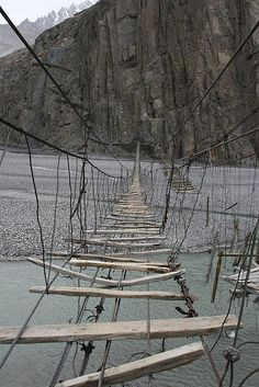 Rope Suspension Bridge,   Gulmit, Northern Pakistan