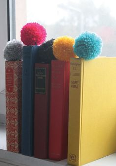 Pom Pom Bookmark Blue by TheSquidInkCo on Etsy