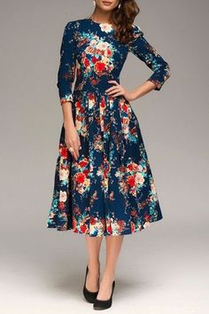 Blue Floral 3/4 Sleeve Fashion Midi Dress