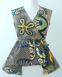 Ankara wrap top pattern blouse peplum top by Sosomeshop on Etsy