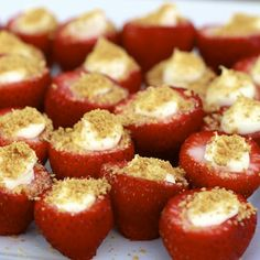 Cheesecake stuffed strawberries. I'm going to attempt a Slimming World version with quark, vanilla extract & digestives.