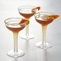 Ginger Sidecar: Ginger, brandy, and maple syrup imbue the flavors of cold weather on a classic war-era libation.