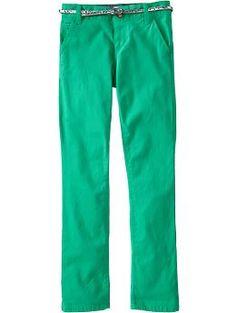 Girls Belted Skinny Khakis in Imperial Jade