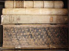 Vellum covered books, with edge decoration