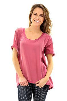 MANILA GRACE - T-Shirts - Abbigliamento - T-Shirt in seta asimmetrica sul fondo, abbottonatura sul retro con bottoni a pressione a scomparsa. - MD188 - € 195.00