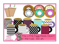 Donuts and Coffee/Hot Cocoa Mug Clipart with Blacklines