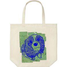 トートバッグにも 背景が緑に犬は青い線で  http://ift.tt/1JRZ43R #イラストレーション #illustration #instadog #キャバリアキングチャールズスパニエル #CavalierKingCharlesSpaniel #UTme #ユニクロ #uniqlo #suzuriで販売中  #suzurijp