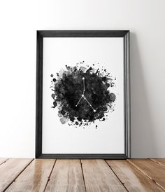 Cancer constellation print, Cancer zodiac poster, Astrology wall art, Zodiac art print, Cancer zodiac sign, Black and white