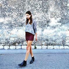 Alizée Gamberini - Chloé Boots, Sandro Skirt, The Kooples Shirt - In the night