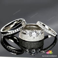 His & Her Bridal Trio Rings Set 4 Piece 10K White Gold Finish 2.00Ct.tdw Diamond #aonedesigns