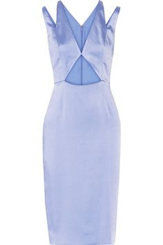 """EXCLUSIVE AT NET-A-PORTER.COM. Cushnie et Ochs' dresses are """"confidently understated and luxuriously modern."""" Designed to flatter, this figure-hugging piece is crafted from lustrous crinkled silk-satin with strategically placed cutouts. The light-blue hue looks especially chic with gold accessories."""