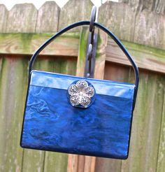 vintage blue lucite purse - 1950s rare blue lucite box purse via Etsy