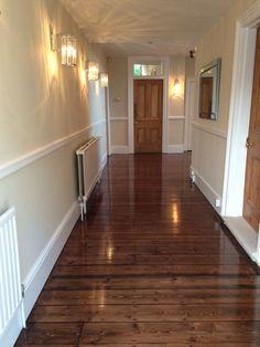 Pine floorboards sanded and finished by Restore My Floor. Staining Pine Wood, Pine Wood Flooring, Hall Flooring, Real Wood Floors, Pine Floors, Engineered Hardwood Flooring, Plank Flooring, Hardwood Floors, Wood Floor Restoration