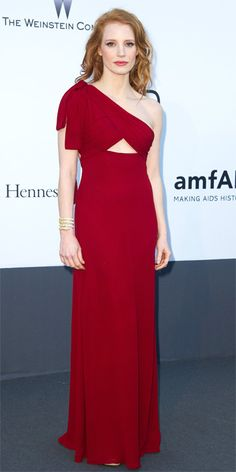 Cannes Film Festival Party Fashion Photos: amfAR Cinema Against AIDS Gala - Jessica Chastain in Saint Laurent from #InStyle