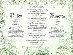 Ornate Personalized Poem and Name Meanings for Mom and Dad, Ready to Frame #Handmade